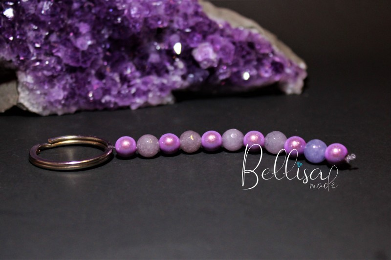 Kľúčenka Jadeit + fialová perla
