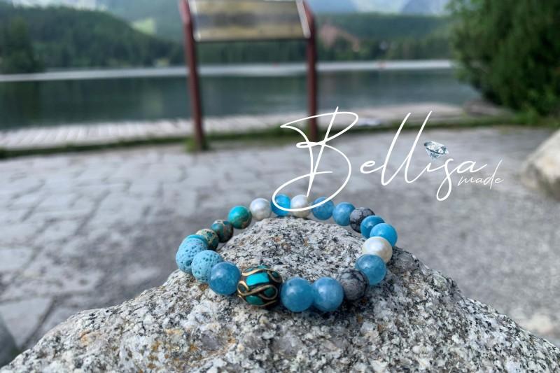 Akvamarín + modrý achát + Tibet